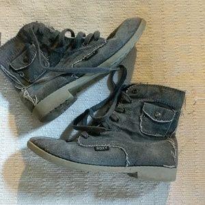Gray Canvas Combat Boots- Roxy